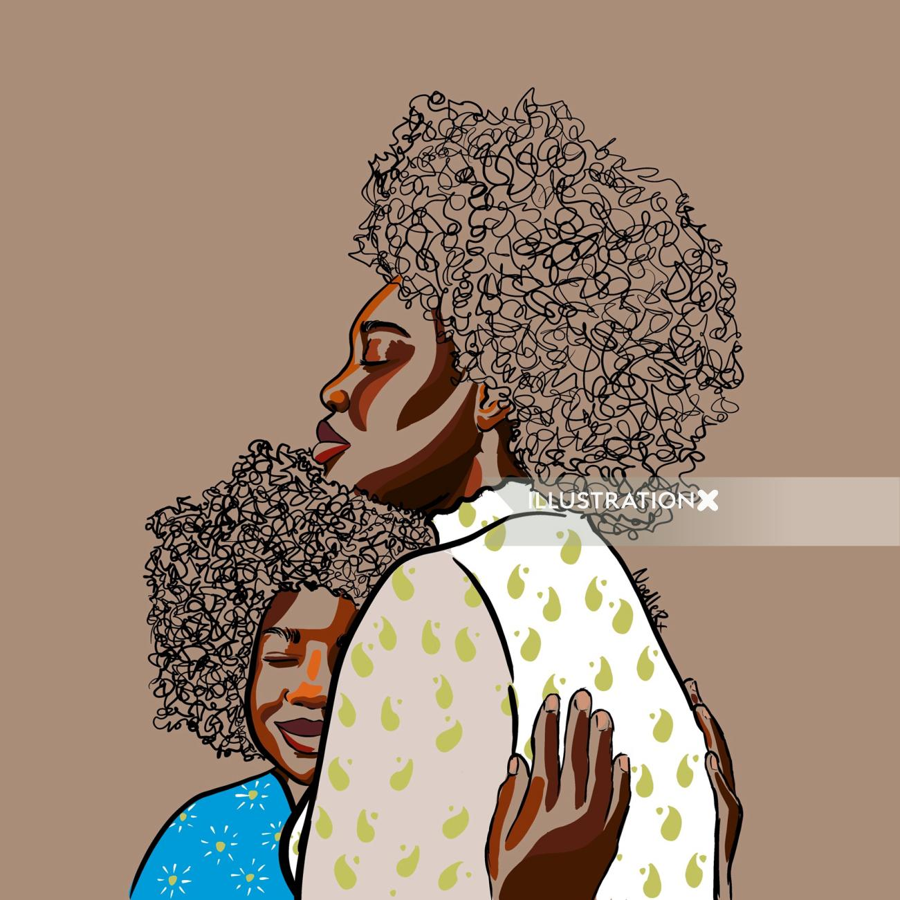 A hug from mommy digital painting