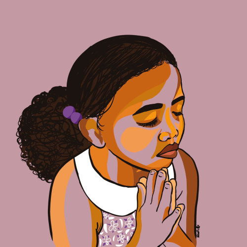 Digital painting of child praying
