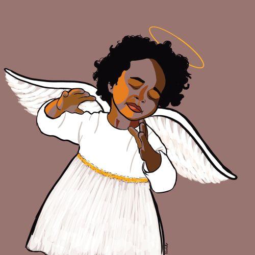 Digital painting of angel of music