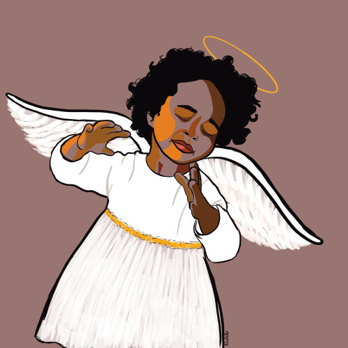 Digital painting of angel of music