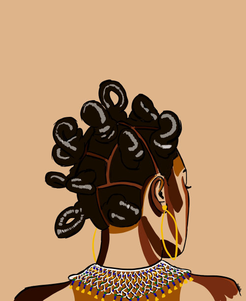Portrait illustration of Bantu people