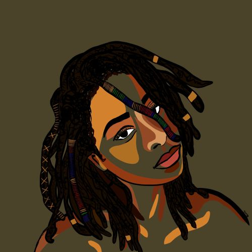 Lovely Locs hairstyle fashion illustration