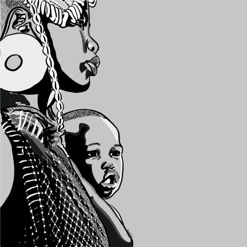 Black motherhood black and white illustration