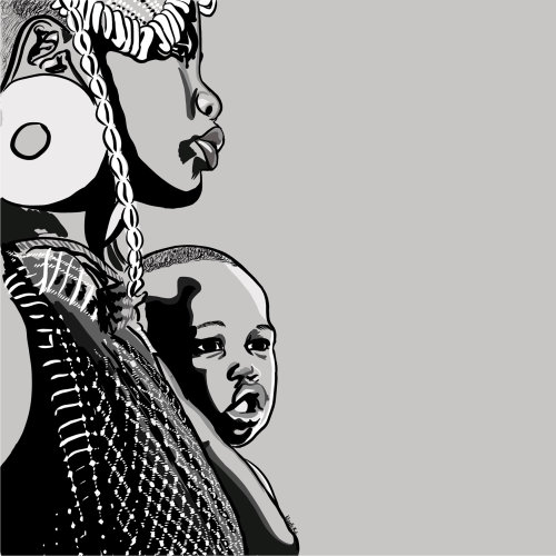 Black motherhood black and white illustration