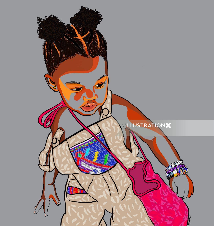 Portrait illustration of little spicy girl