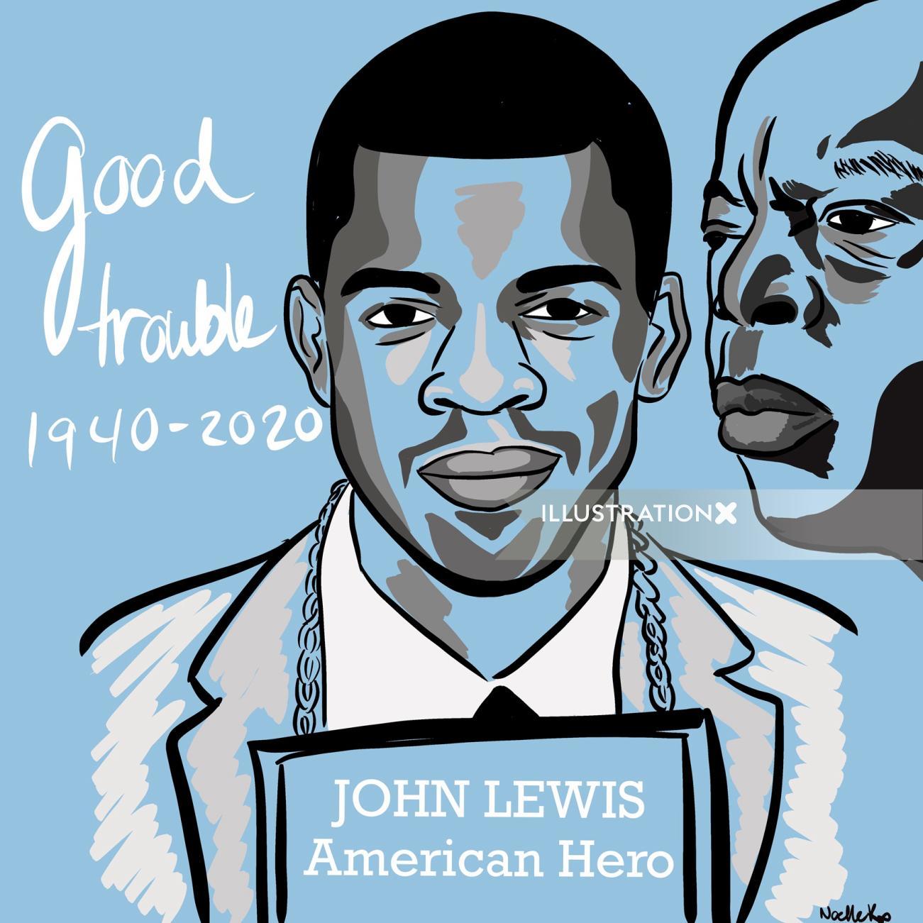John Lewis Portrait illustration