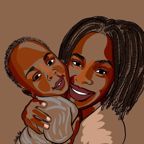 Digital painting of mother love