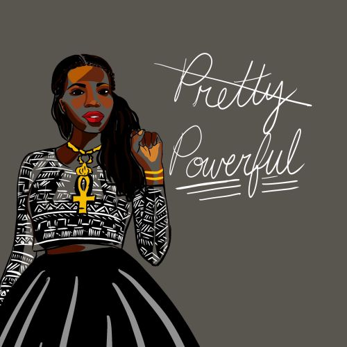 Fashion illustration of pretty & powerful black women