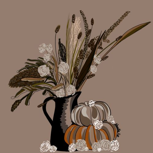 Autumn harvest floral arrangement