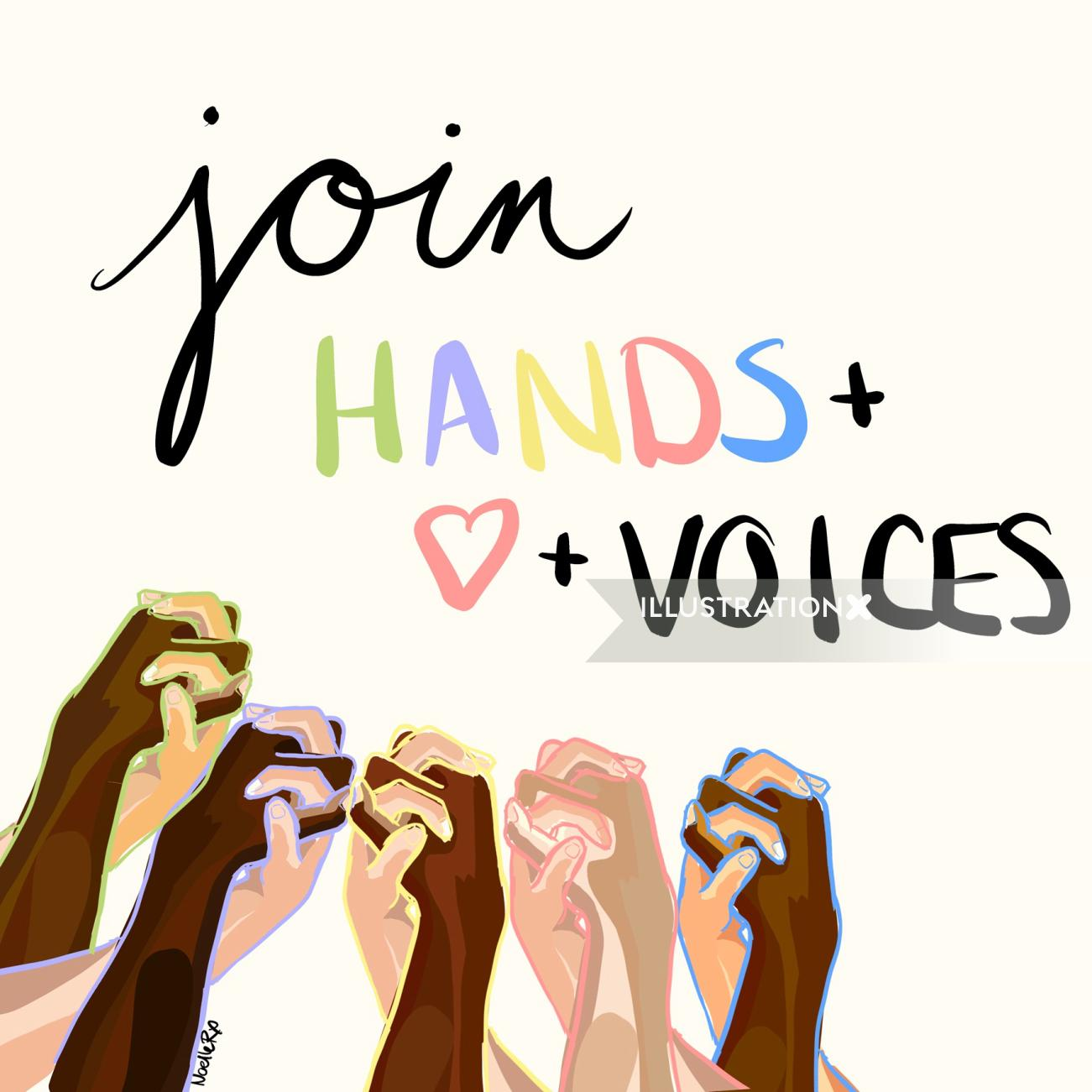 Digital lettering of join hands & voices
