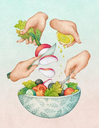 Illustration of green salad by olga svart