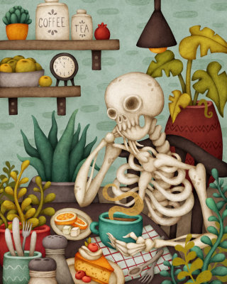 Illustration of skeliotn sitting at dinner table
