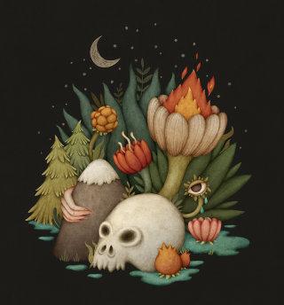 Scary dark night illustration
