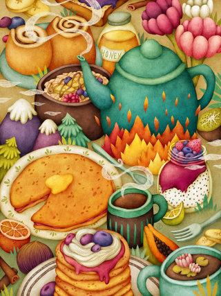 Morning breakfast cusine illustration