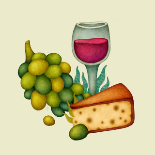 Artwork of cake fruits and wine