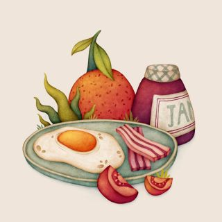 Healthy breakfast art by Olga svart
