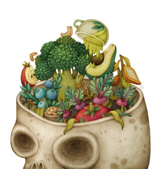 Healthy food filled in brain