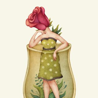 Cartoon of Rose head lady in a jar