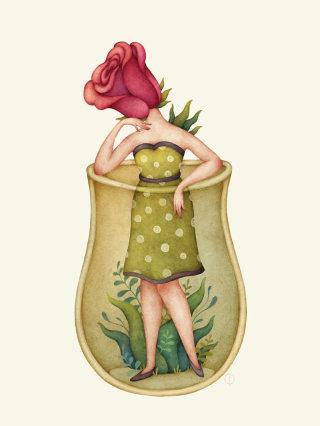 Cartoon of Rose head lady in a jar