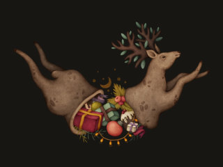 Graphic of Christmas antilope's belly of gifts