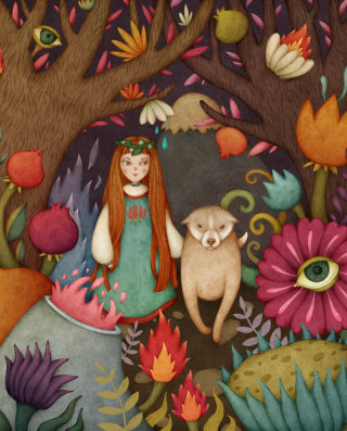 Fantasy illustration of girl and her dog