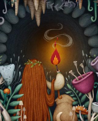 Cartoon of brave girl entering into dark cave
