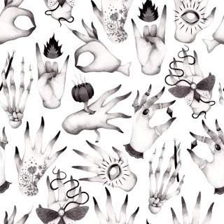 Drawing of scary and weird hands by Olga Svart