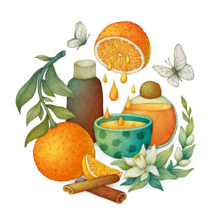 Illustration of citrus fruit and juice