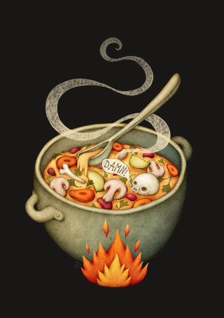 Scary soup art work