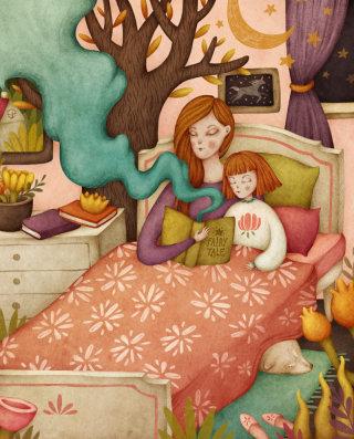 Bed time stories illustration