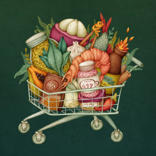 Illustration of grocerries in trolly of a super market