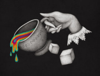 Illustration of a colourful tea in pot