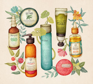 Illustration of beauty care products