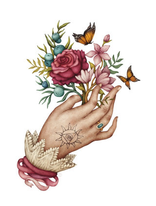 Artwork of floral hand with tatoo