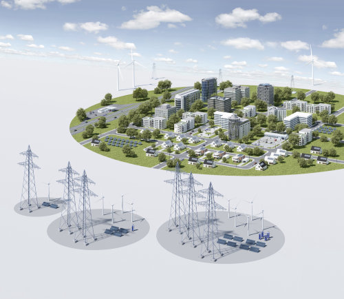 3D / CGI Rendering city with electricity poles