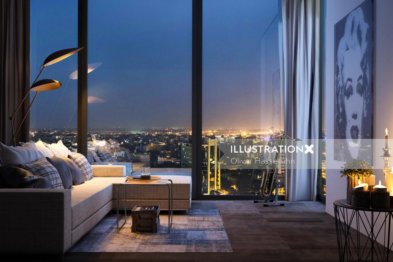 3d / CGI City view from room
