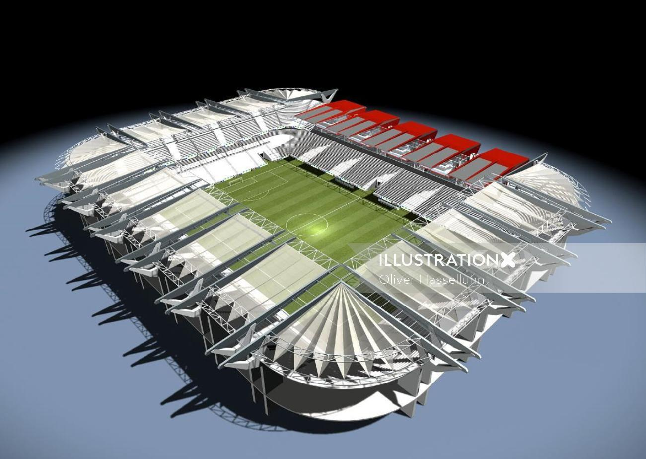 Aerial view of Stadion - Architectural illustration