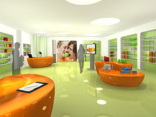 Realistic illustration of shop
