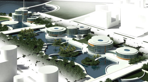 3D illustration of Lingang Congresscenter