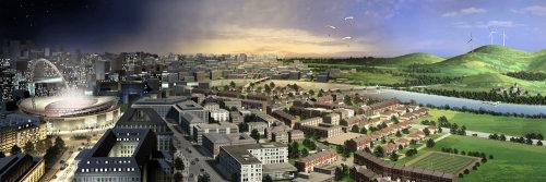 Stadtlandschaft aerial view illustration