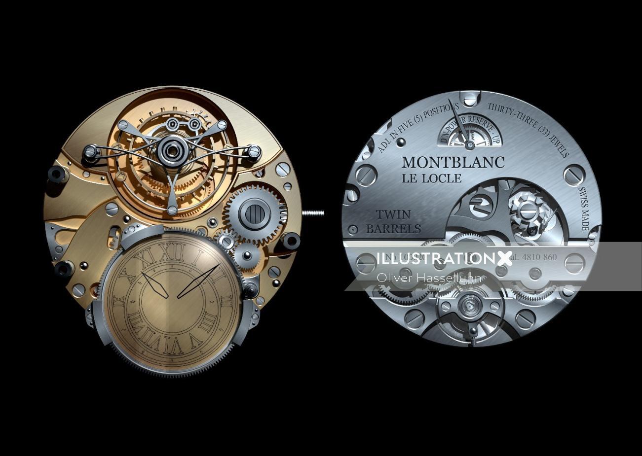 Architecture illustration of Uhrwerke