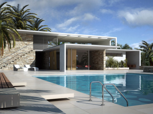 Photorealistic illustration of Haus mit Pool