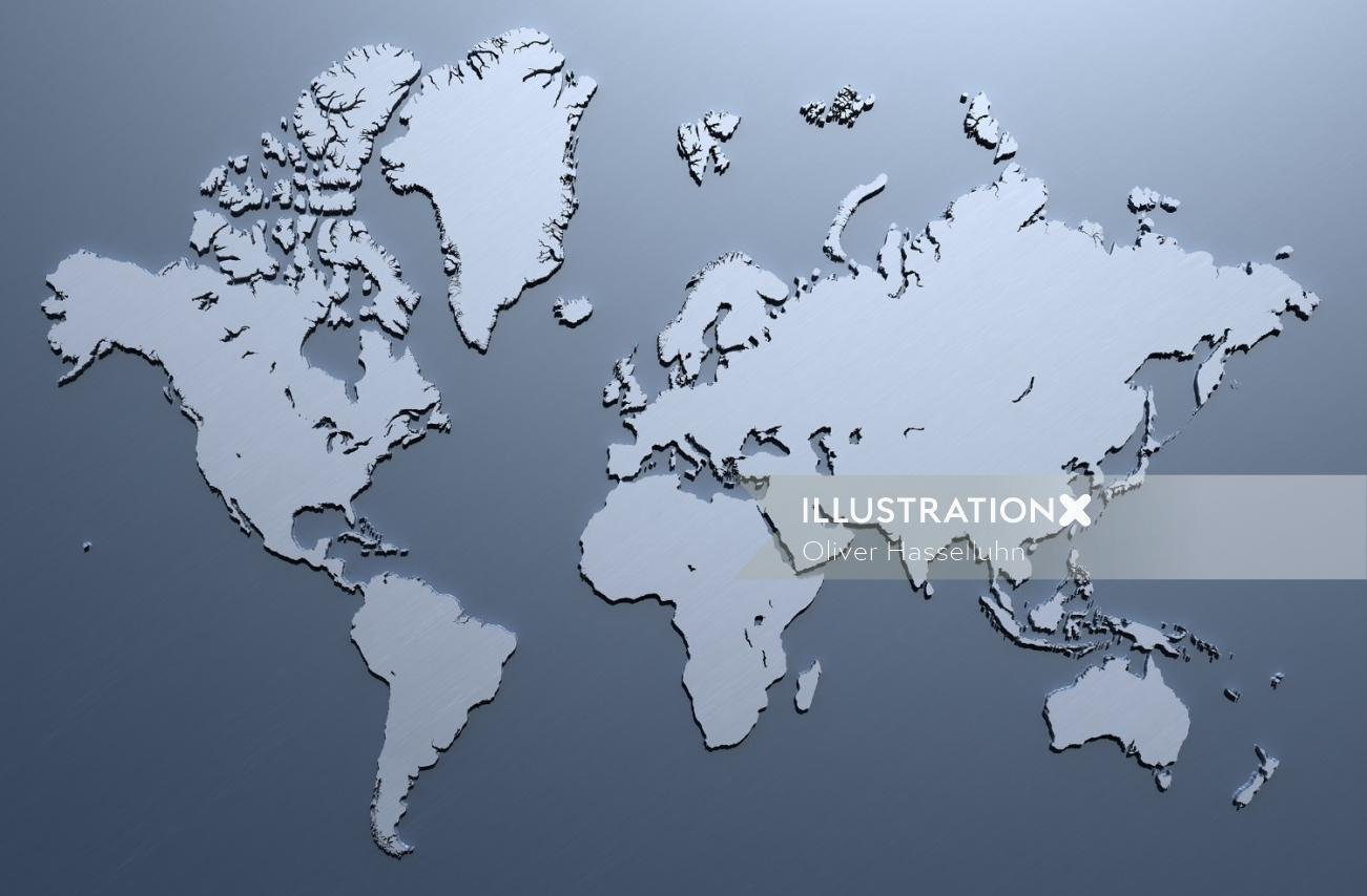 Weltkarte map illustration