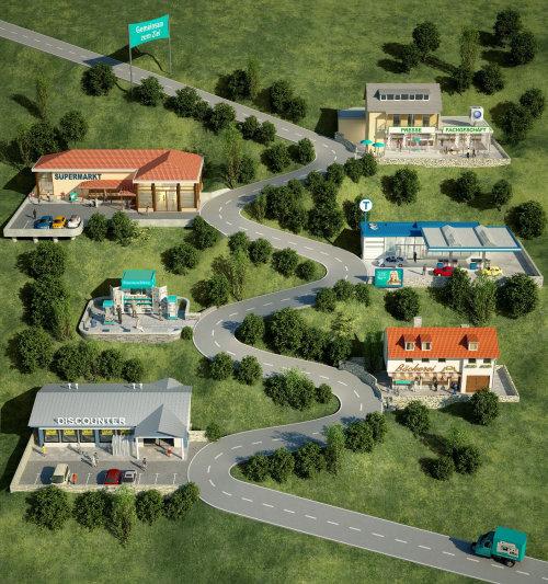 3D map illustration of SZ Gewinnspiel