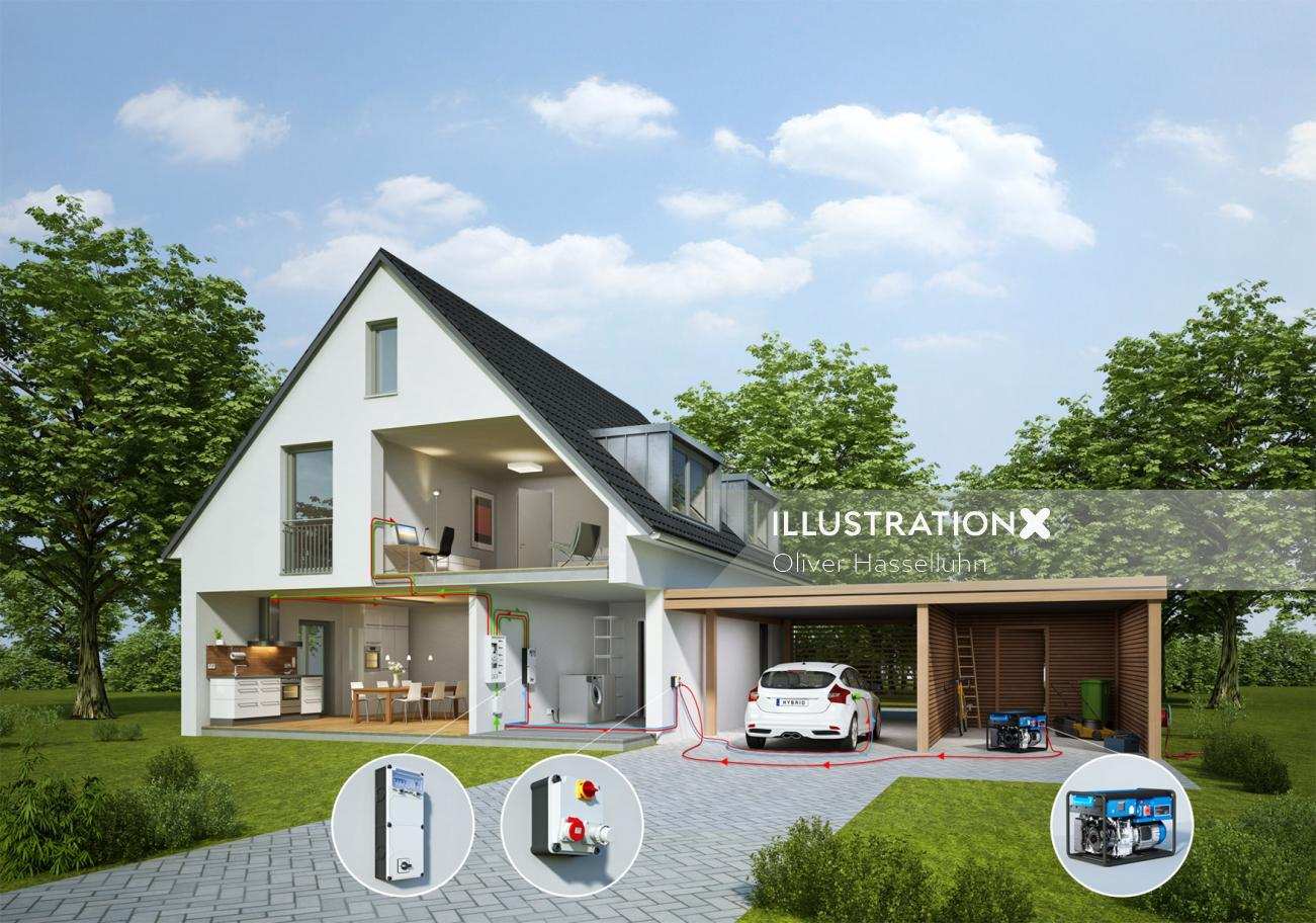 Architectural illustration of residential house