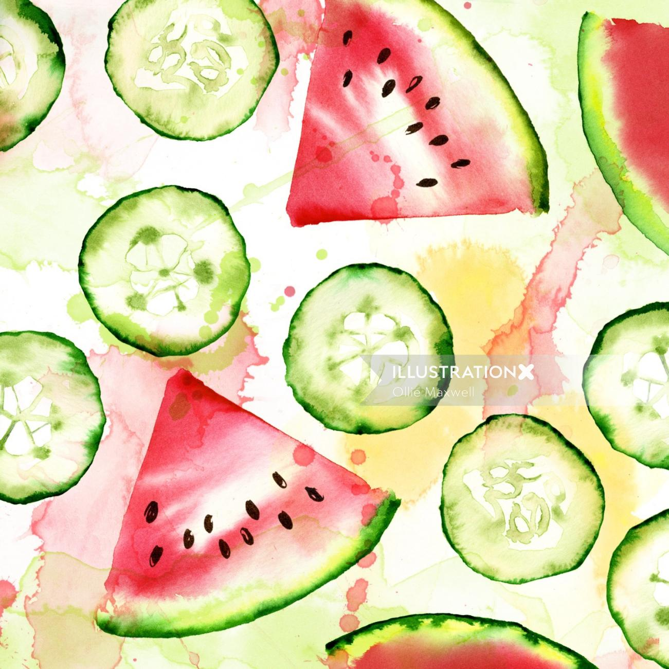 Watermelon and cucumber slices | Fruits illustration