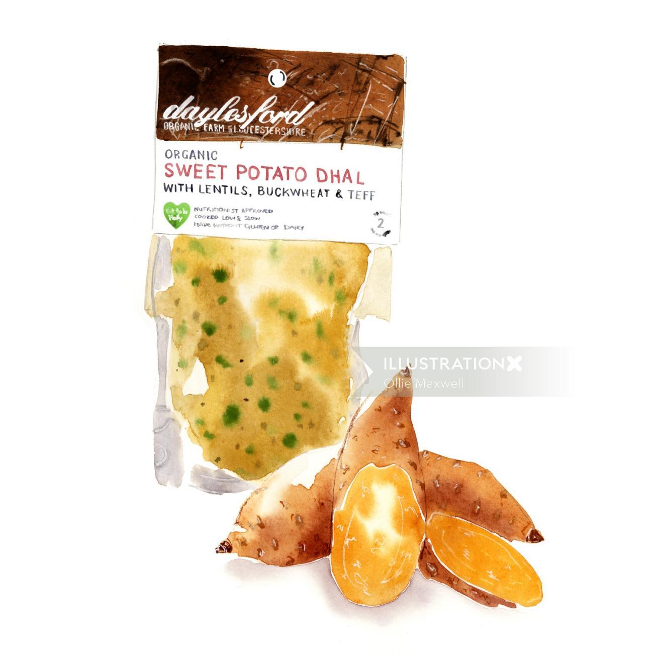 Organic sweet potato dal