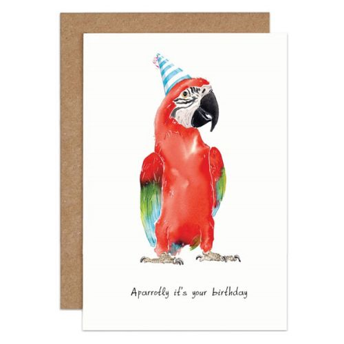 Red parrot with birthday cap