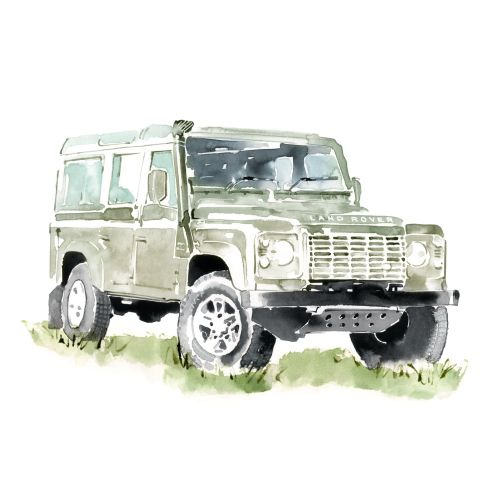 Land Rover Transport watercolour graphic