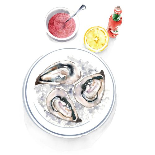 Oysters watercolor painting